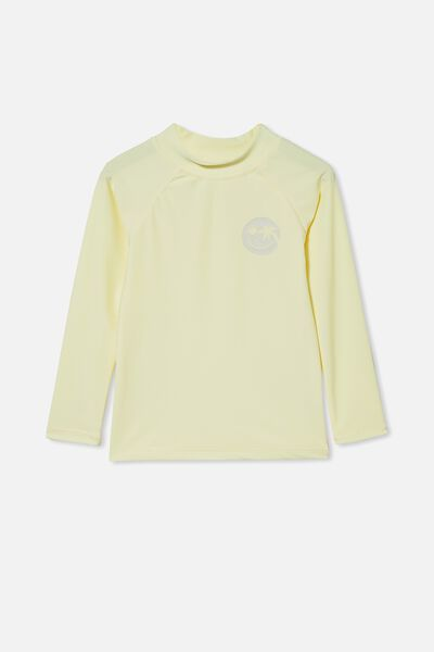 Flynn Long Sleeve Raglan Rash Vest, LEMONADE/SMILE