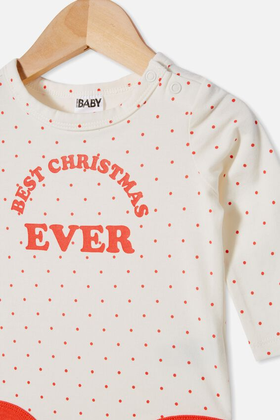 The Long Sleeve Bubbysuit, JOY SPOTVANILLA/RED ORANGE BEST CHRISTMAS