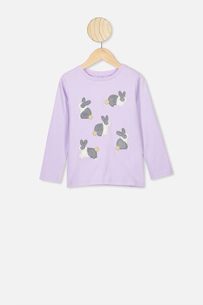 Stevie Ls Embellished Tee, VINTAGE LILAC/BUNCH OF BUNNIES