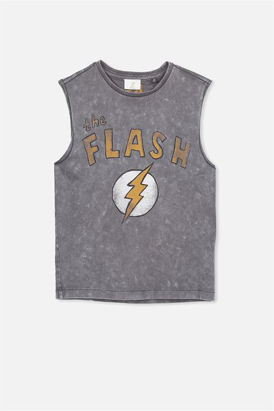 License Muscle Tank, GRAPHITE WASH/THE FLASH