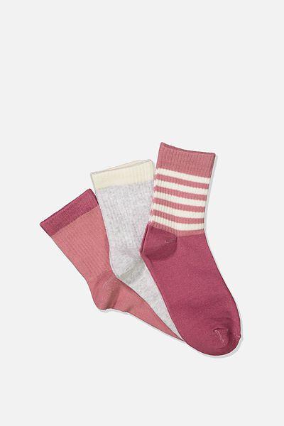 Kids 3 Pk Fashion Crew Socks, RUSTY ROSE STRIPE