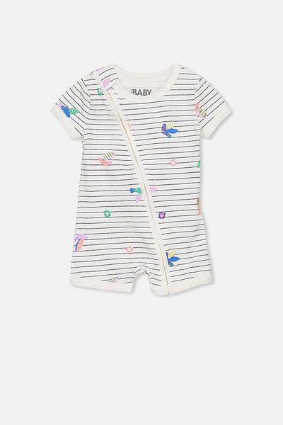 Mini Short Sleeve Zip Through All In One, VANILLA/BIRD GARDEN