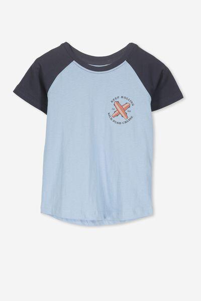Max Short Sleeve Raglan Tee, BUDGIE BLUE/KEEP ROLLING