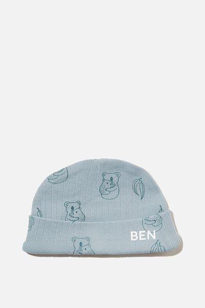 Organic Newborn Beanie - Personalisation, RAIN CLOUD/CUDDLY KOALA