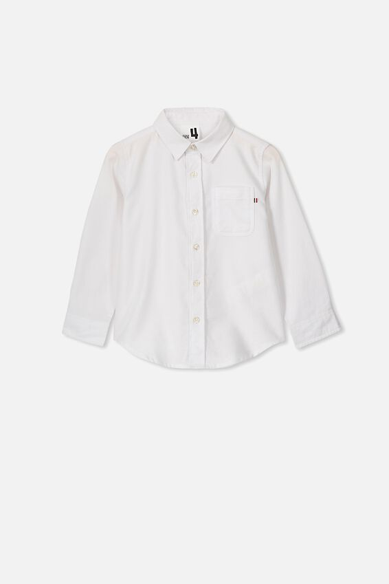Prep Long Sleeve Shirt, WHITE OXFORD