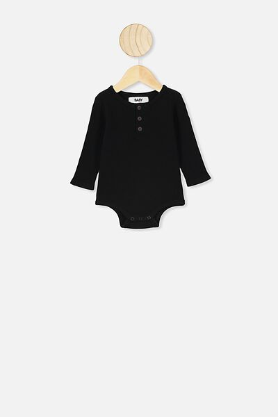 The Long Sleeve Waffle Bubbysuit, BLACK