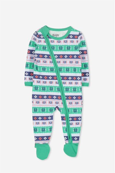 Sleep Mini Zip All In One Jumpsuit, VANILLA/XMAS PATTERN STRIPE