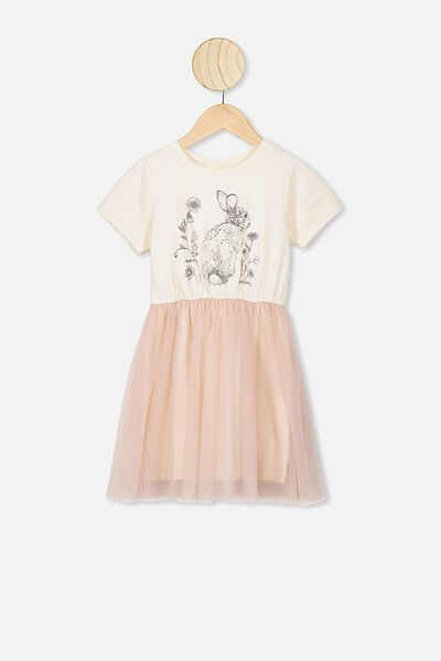 Vivienne Dress Up Dress, DARK VANILLA/SMOKEY PINK BUNNY