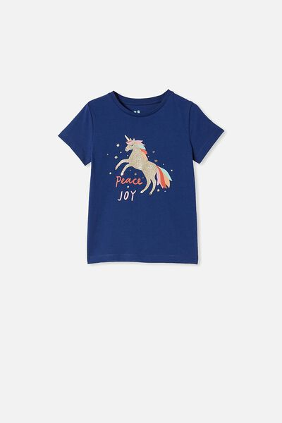 Penelope Short Sleeve Tee, INDIGO/PEACE,JOY & UNICORNS