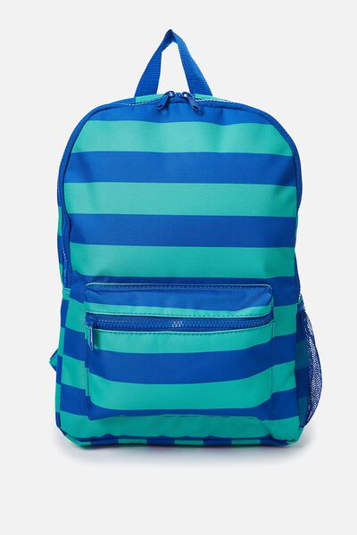 School Backpack, GREEN/BLUE STRIPE