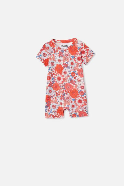 The Short Sleeve Romper, VANILLA/SMOKED SALMON RETRO FLORAL