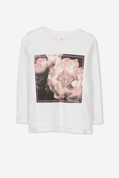 Penelope Long Sleeve Tee, WHITE/FLOWER PHOTO/SET IN
