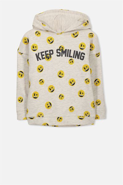 License Dropped Shoulder Hoodie, NEW OATMEAL/KEEP SMILING