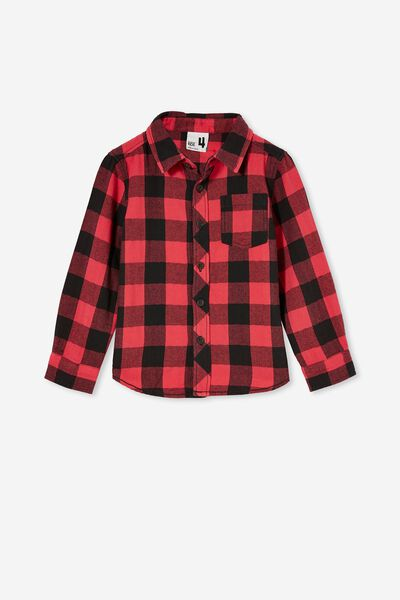 Rugged Long Sleeve Shirt, RED/PHANTOM BUFFALO CHECK