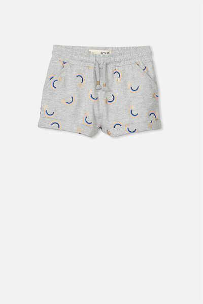 Nila Knit Short, LIGHT GREY MARLE/RAINBOW