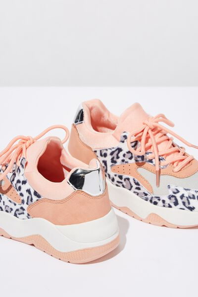 Chunky Lace Up Trainer, LEOPARD