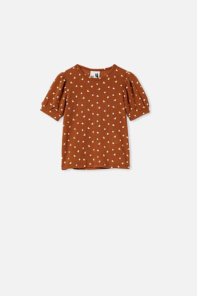 Jasmine Puff Sleeve Top, CARAMELTOFFEE/DITSY FLORAL