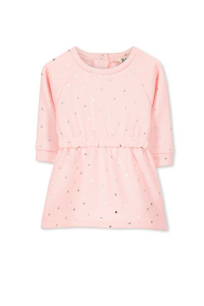 Emily Fleece Dress, POWDER PINK/FOIL SPOT