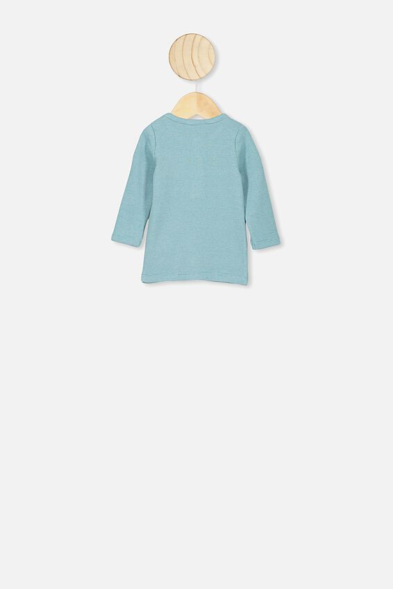 Austin Long Sleeve Placket Top, BENNY STRIPE AQUA DREAM/DARK VANILLA
