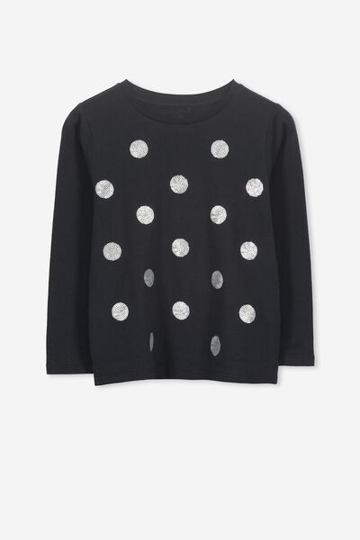 Stevie Ls Embellished Tee, PHANTOM/SEQUIN SPOTS