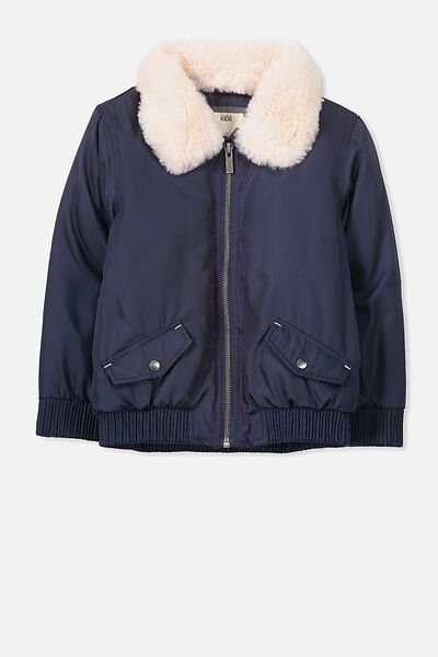 Beth Faux Fur Collar Bomber, PEACOAT/SHELL PEACH