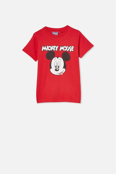 Short Sleeve License1 Tee, LCN DIS LUCKY RED/ MICKEY MOUSE FACE