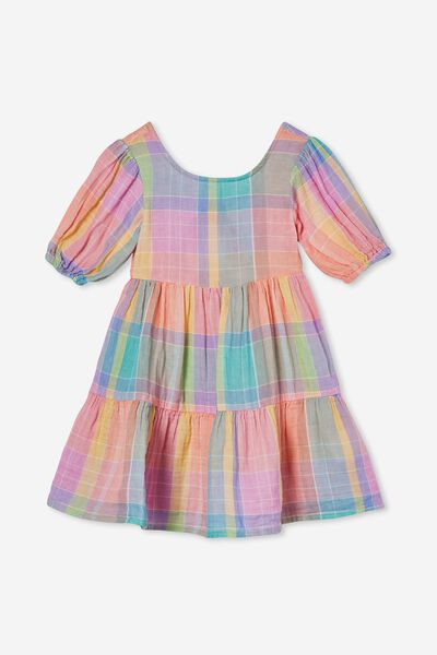 Georgia Short Sleeve Dress, RAINBOW CHECK
