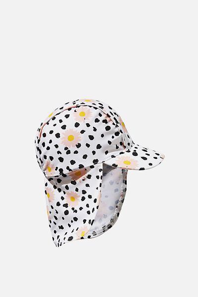 Newborn Sonny Swim Hat, DARK VANILLA/LEOPARD DAISY