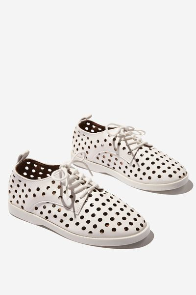 Derby Side Cut Flat, MATTE WHITE PERFORATED
