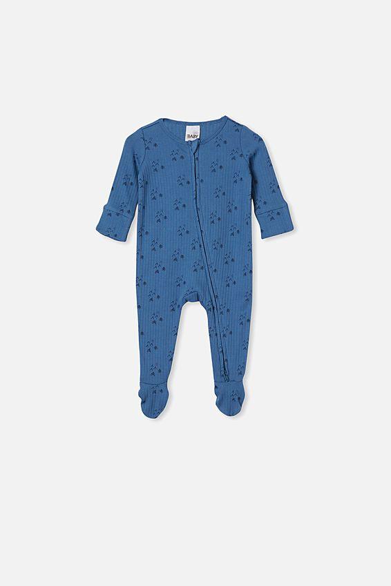 Organic Newborn Zip Through Romper, PETTY BLUE/FOREST