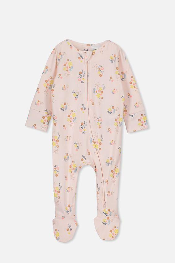 The Long Sleeve Zip Romper, CRYSTAL PINK/NORA FLORAL
