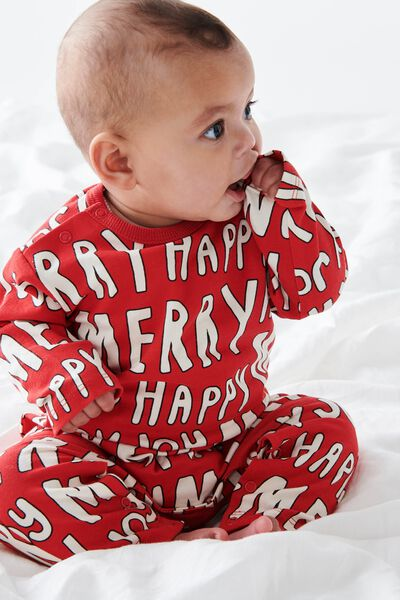 The Long Sleeve Snap Romper, RED/MERRY JOY