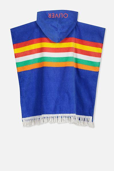 Personalised Hooded Towel, BLUE STRIPE PERSONALISED