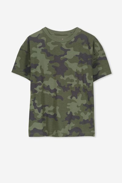 Penelope Ss Loose Fit Tee, FOUR LEAF CLOVER/CAMO