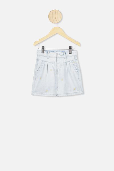 Kirstie Denim Yoke Skirt, BLEACH WASH/DAISY
