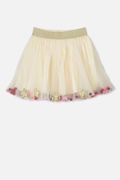 Trixiebelle Tulle Skirt, VANILLA/GOLD CONFETTI