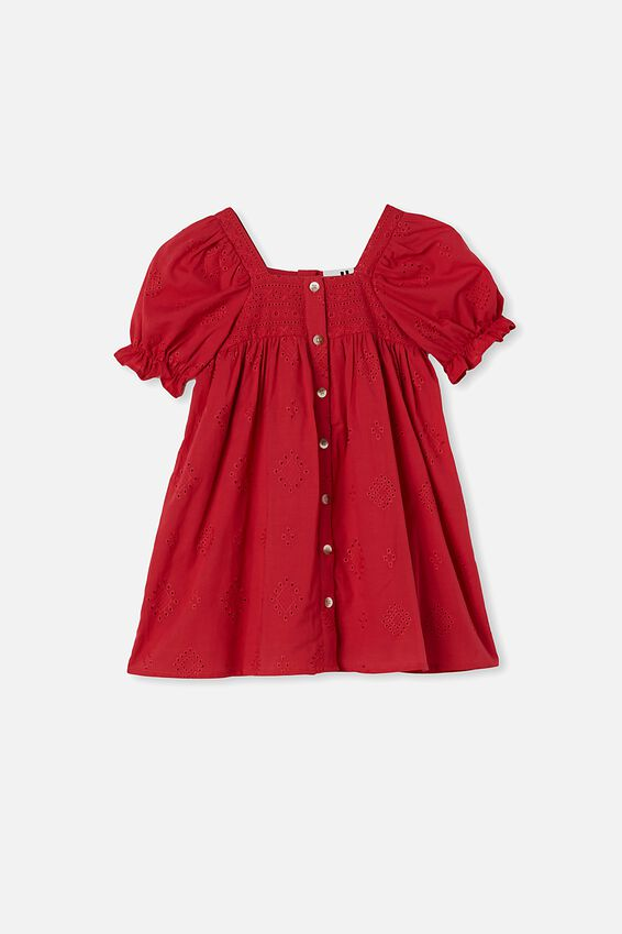 Lucinda Short Sleeve Dress, LUCKY RED