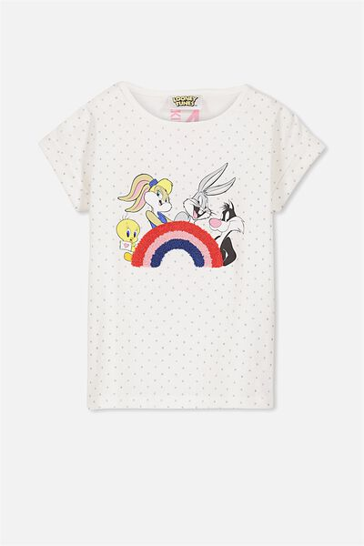 Lux Short Sleeve Retro Tee, LOONEY TUNES RAINBOW/SPOTS
