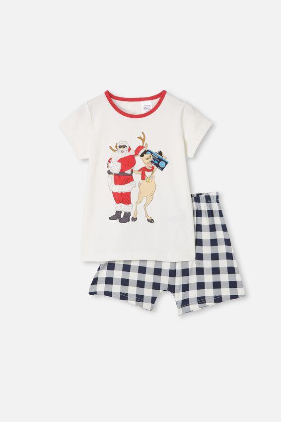 Hudson Short Sleeve Pyjama Set, CHILLIN  SANTA VANILLA
