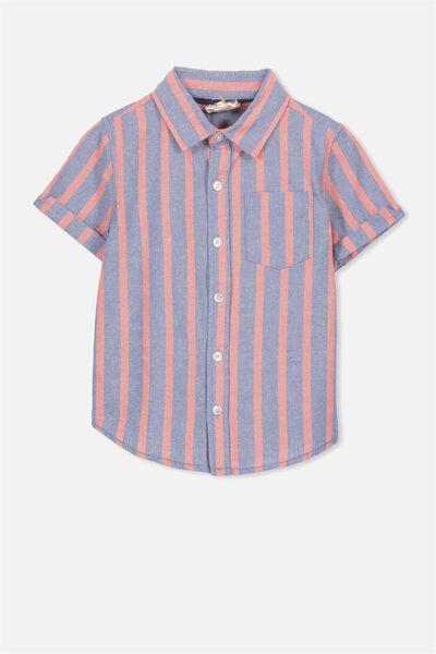 Jackson Short Sleeve Shirt, RED BLUE STRIPE