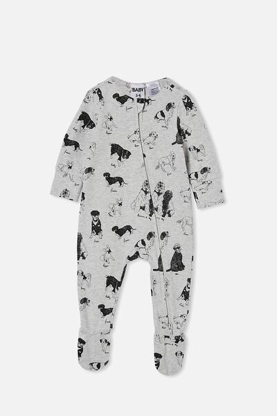 The Long Sleeve Zip Romper, CLOUD MARLE/PUPPY PARTY
