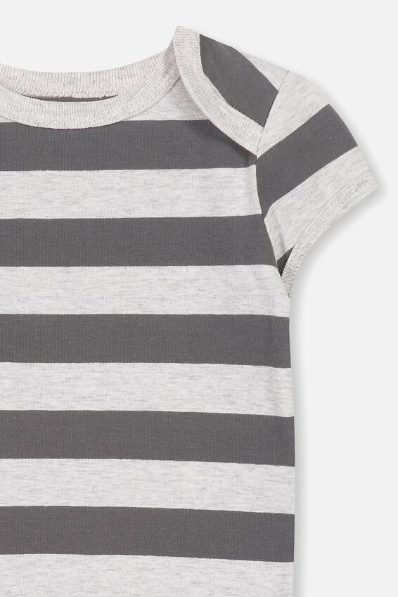 Mini Short Sleeve Bodysuit, CLOUD MARLE/GRAPHITE GREY STRIPE