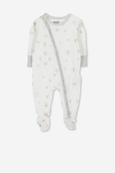 Mini Zip Through Romper, VANILLA/FOIL STARS