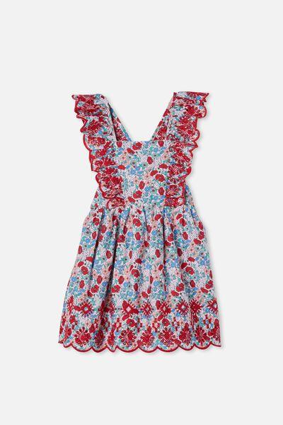 Renee Flutter Sleeve Dress, PINK QUARTZ/RED DITSY FLORAL