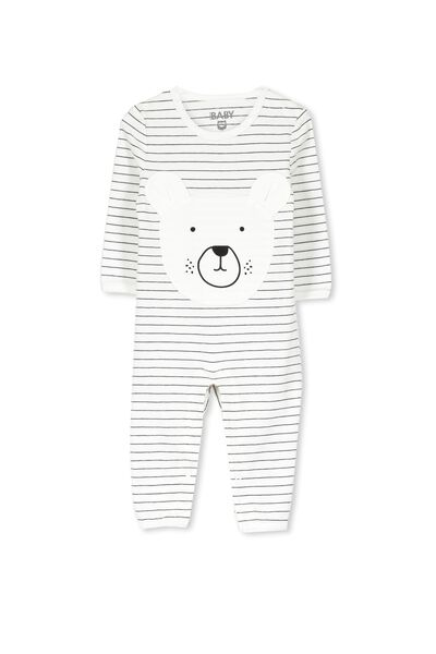 Mini Long Sleeve Snap Bodysuit, VANILLA STRIPEY BEAR