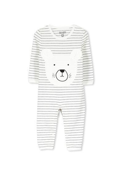 Mini Long Sleeve Snap Bodysuit, VANILLA STRIPEY BEAR