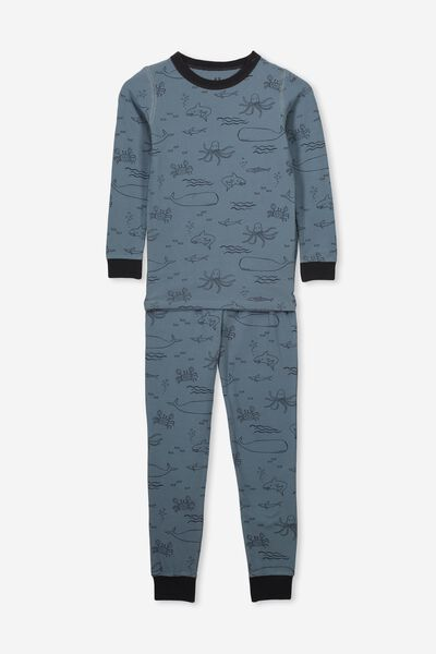 Ethan Long Sleeve Boys Pyjama Set, UNDERWATER CREATURES