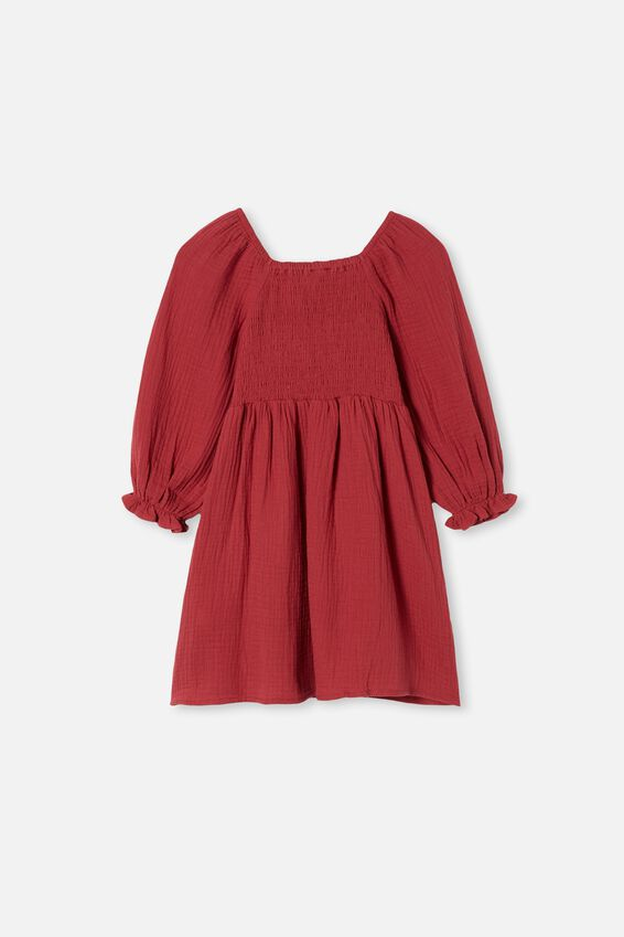 Audrey Long Sleeve Dress, EARTH RED