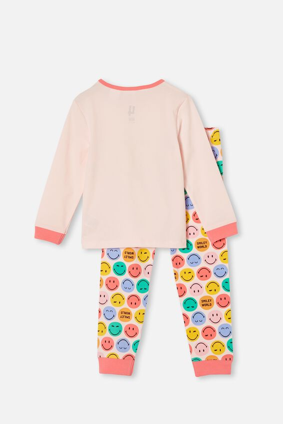 Florence Long Sleeve Pyjama Set Licensed, LCN SMILEY FACE CRYSTAL PINK