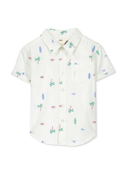 Jackson S/Slv Shirt, VANILLA/PALM TREES YDG